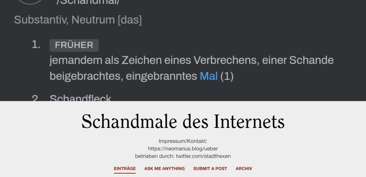 "Neues Projekt: ""Schandmale desInternets"""